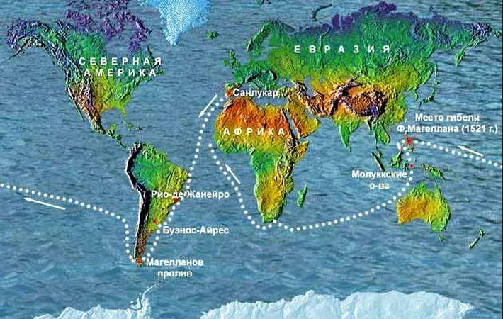 Карта плавания Фернана Магеллана