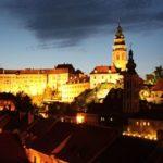 Замок Крумлов вид ночью